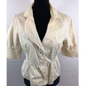 Anthropologie Elevenses Cotton Peplum Jacket Sz 12